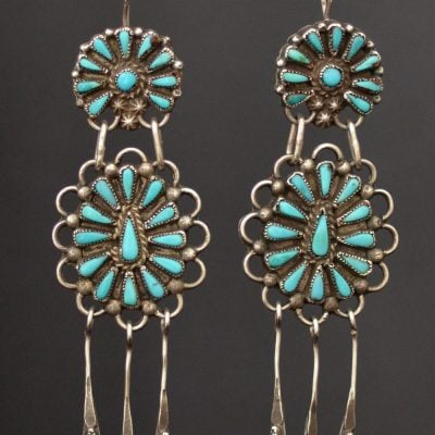 Vintage long Zuni Petite Point Earrings