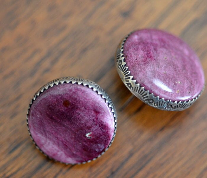 Purple Spiny Oyster Shell Earrings