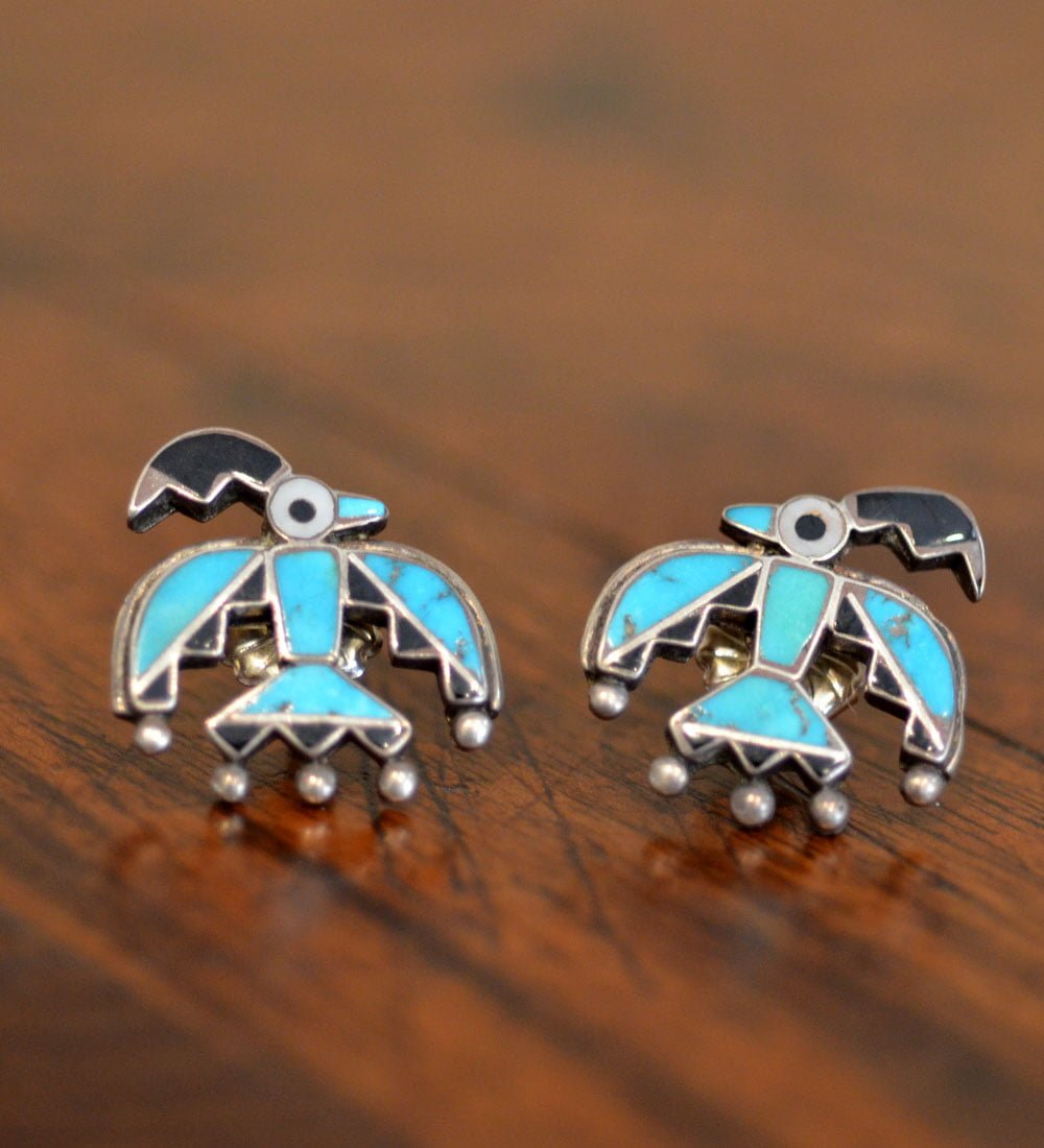 Inlaid Fire Bird Earrings