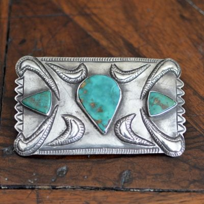 Navajo Green Blue Gem Buckle