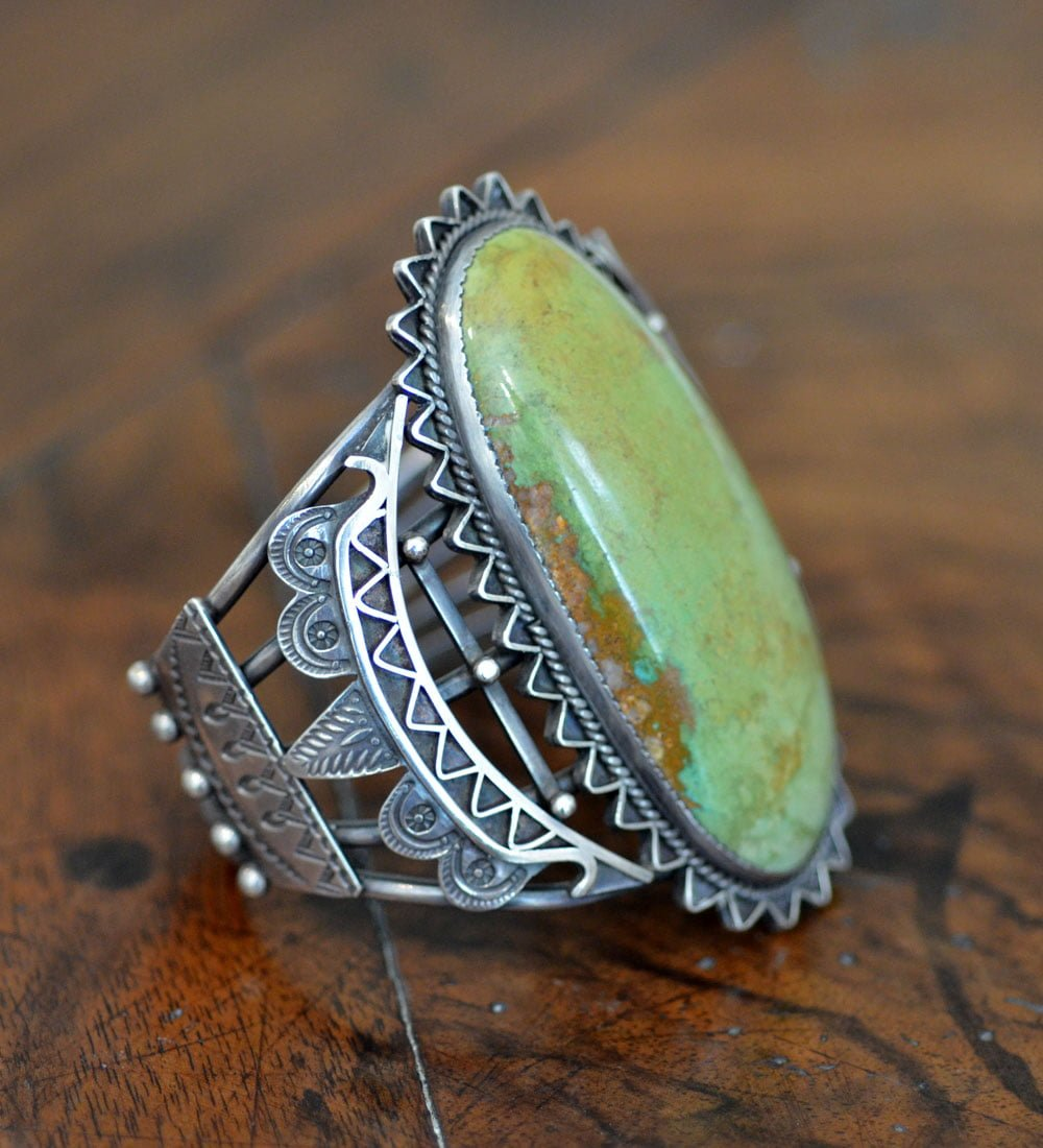 Huge Navajo green stoned cuff