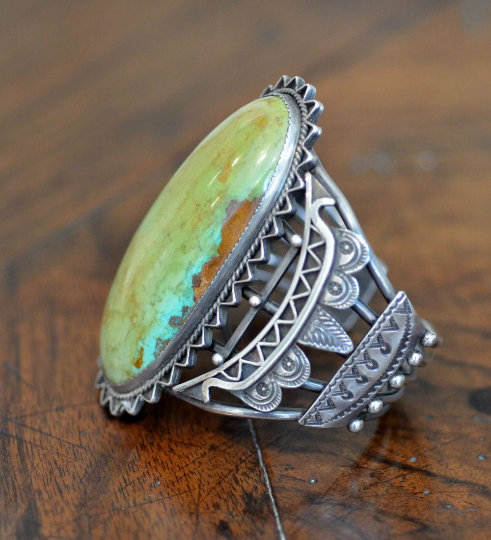 Huge Navajo green stoned cuffHuge Navajo green stoned cuff