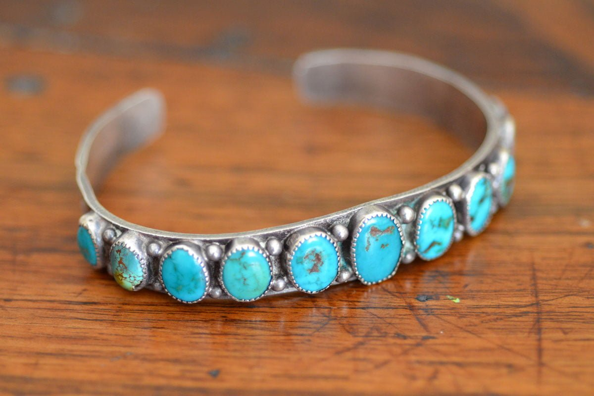 Vintage Blue Gem Turquoise Row Cuff