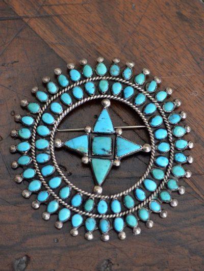 Blue gem Cluster Pin/Pendant