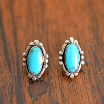 Oval Sleeping Beauty Turquoise Earrings