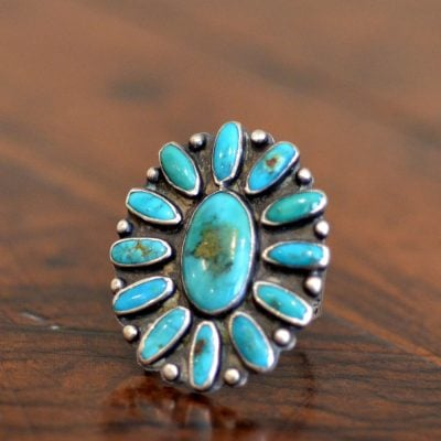 Blue Gem Cluster Ring