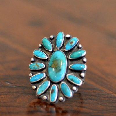 Blue Gem Cluster Ring