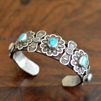 Heavily stamped Navajo Row Cuff