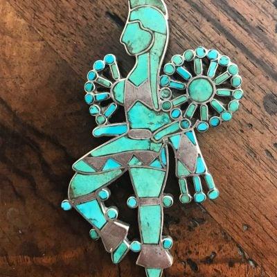 Zuni inlaid feather dancer