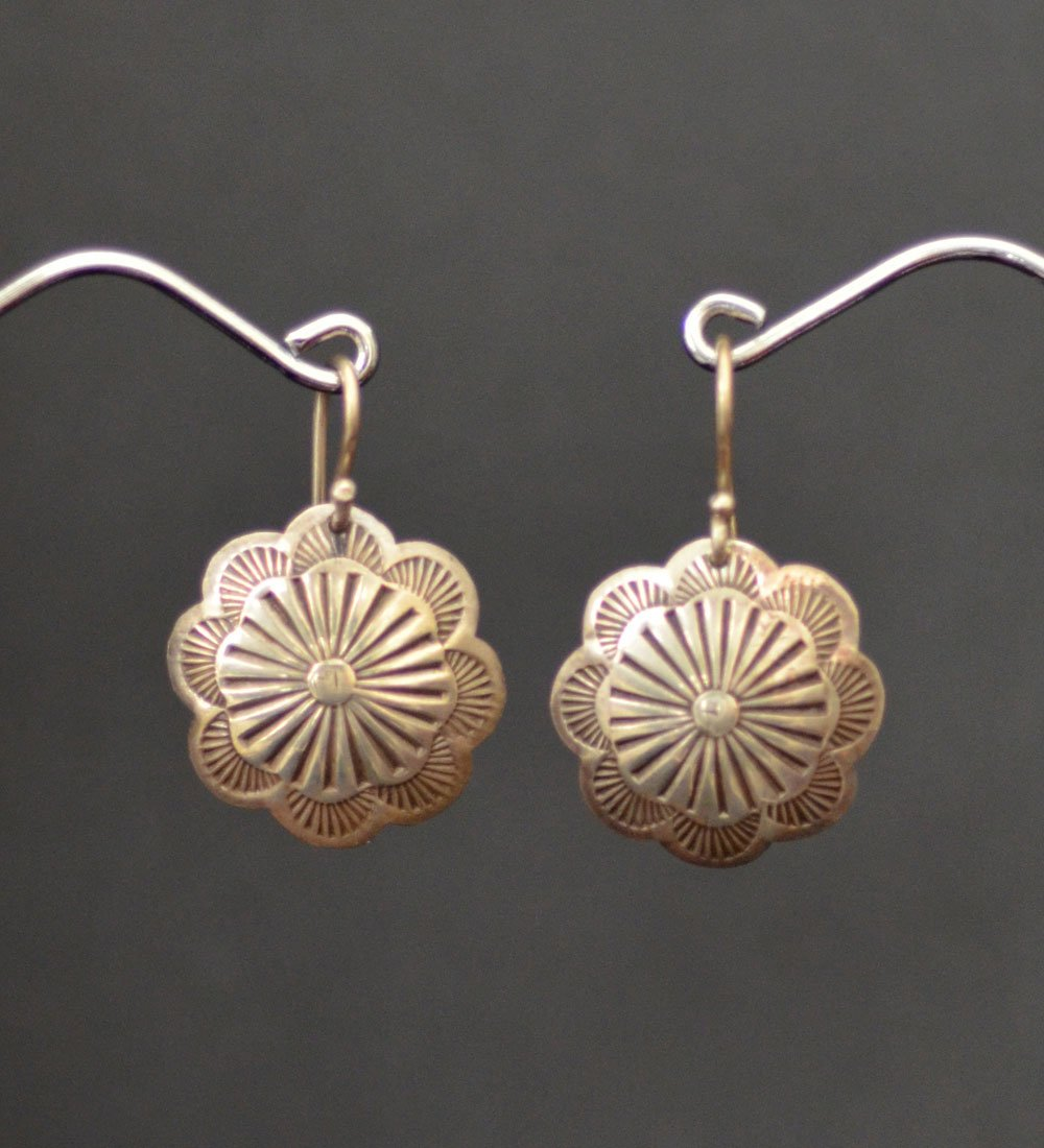 Navajo Hand Stamped Button Earrings