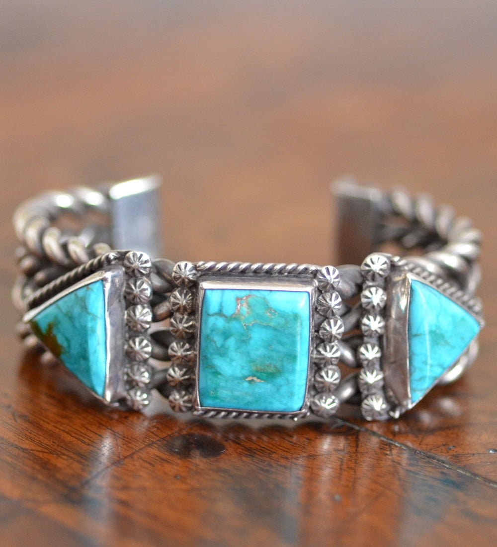 Navajo Liz Wallace Fox Turquoise Cuff