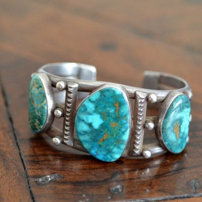 3 Stone Fox Turquoise Cuff