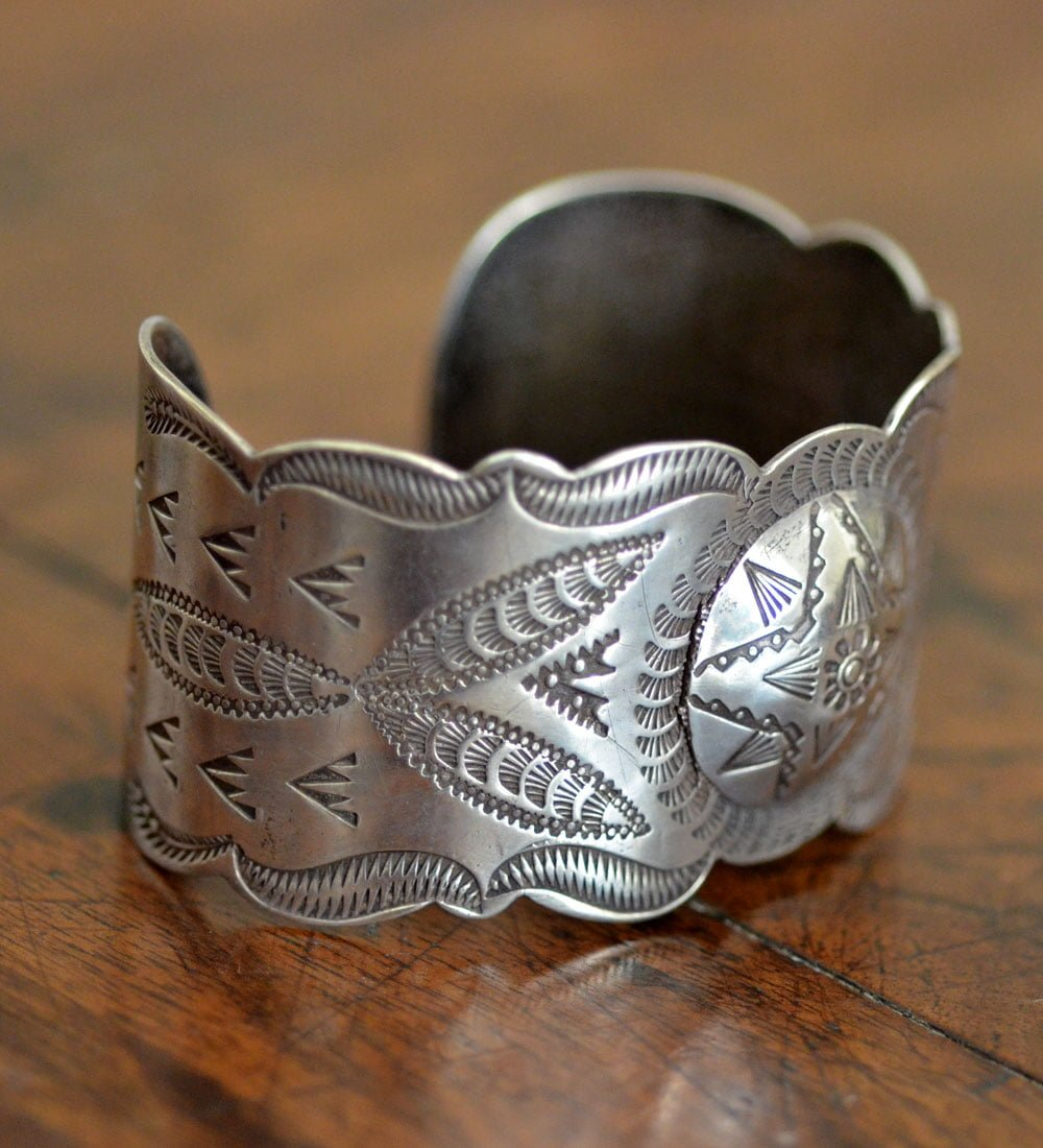 Hand Stamped Navajo Dragon Fly Cuff