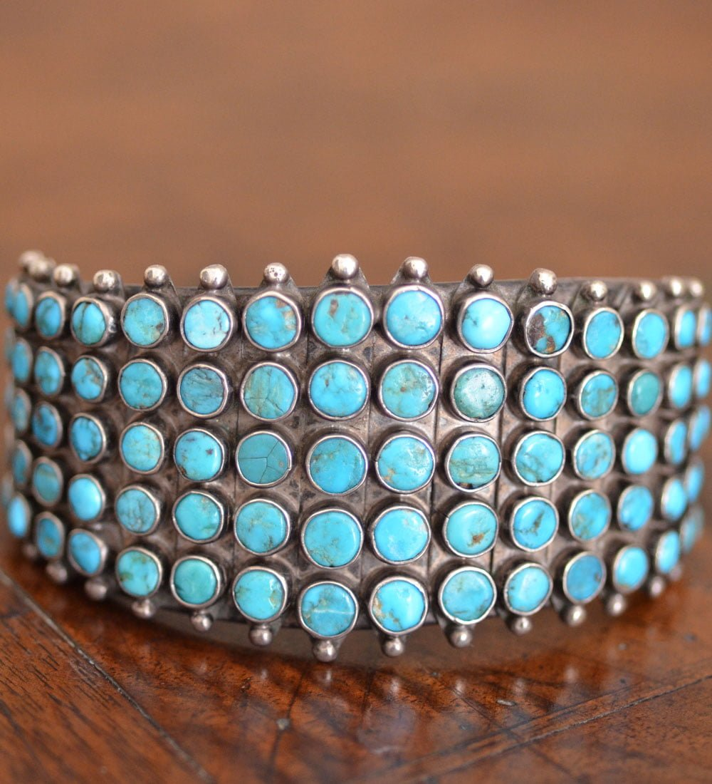 Unusual Vintage Zuni Dot Cuff
