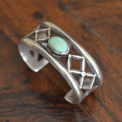 Navajo Cast Cuff With Green Stone