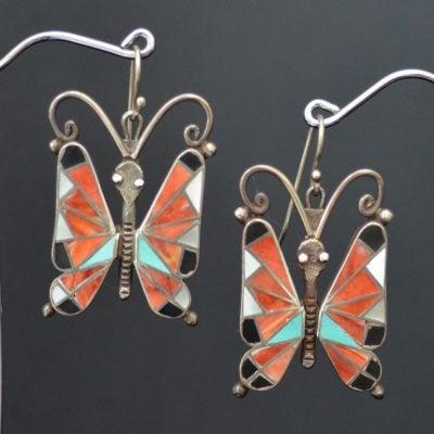 Vintage Inlaid Butterfly earrings