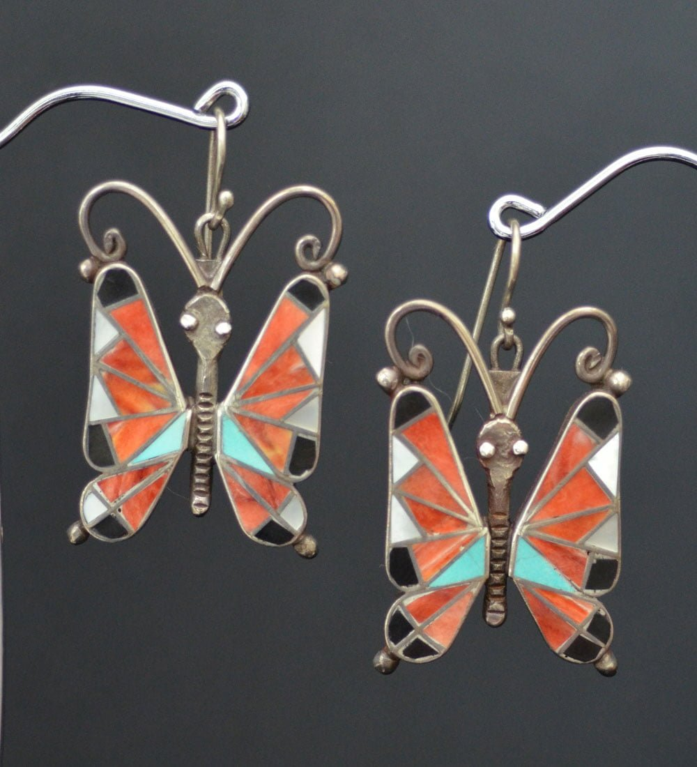 Vintage Inlaid Butterfly earrings