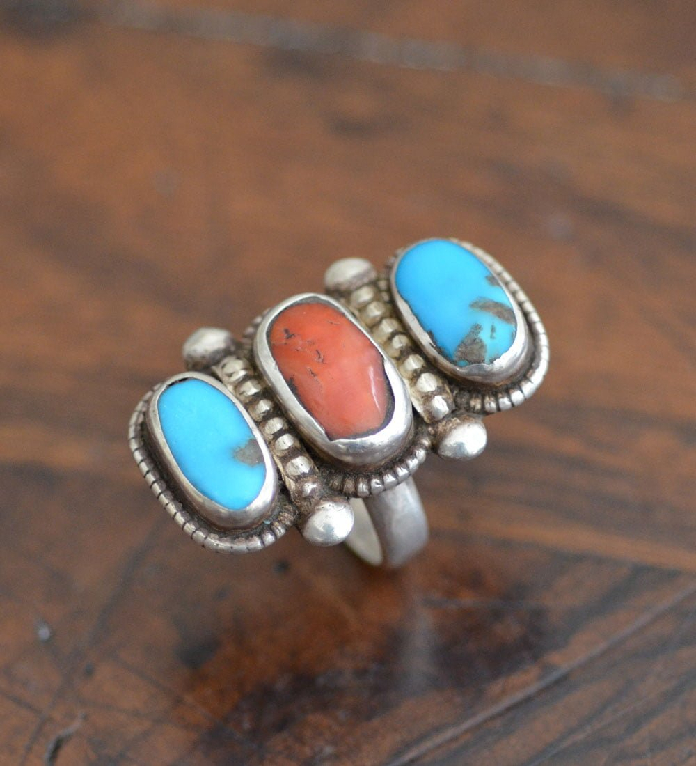 Navajo Turquoise & Coral Ring