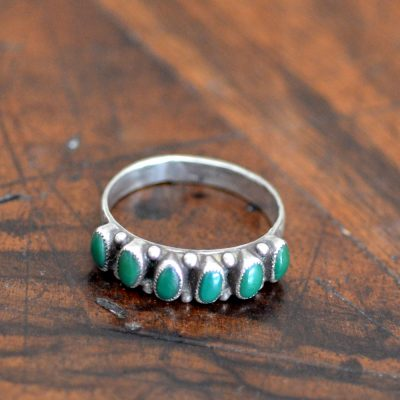 Vintage Green Turquoise Row Ring