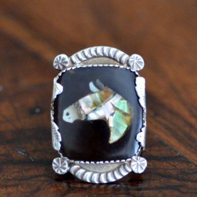 Dan Simnplicio Inlaid Horse Ring
