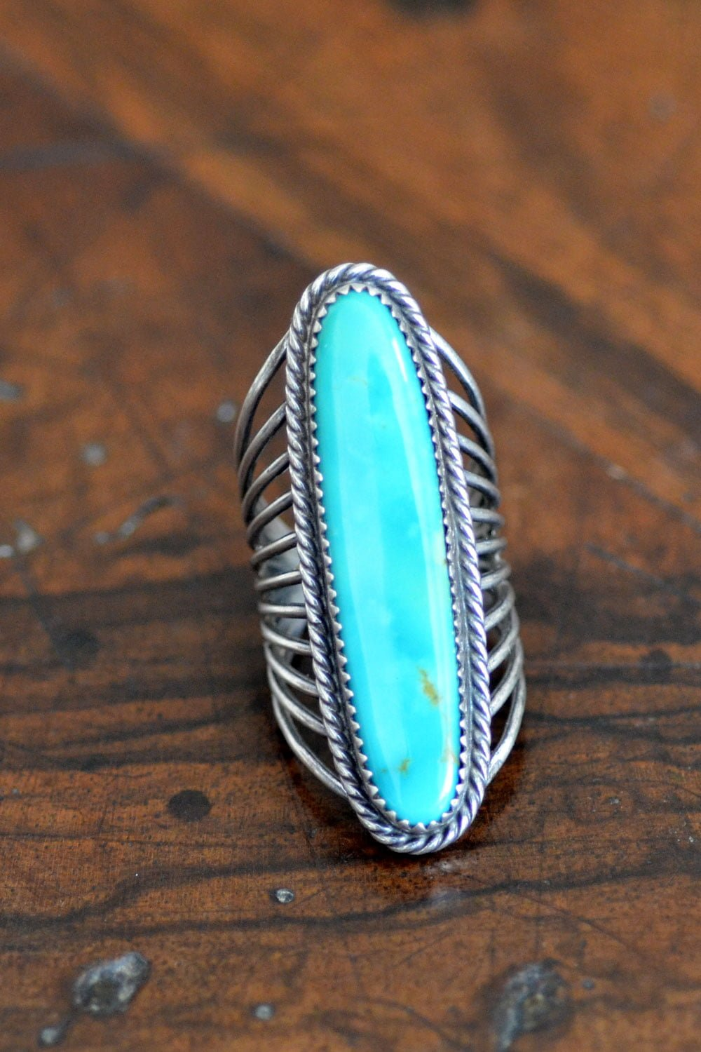 Contemporary Long Turquoise Ring