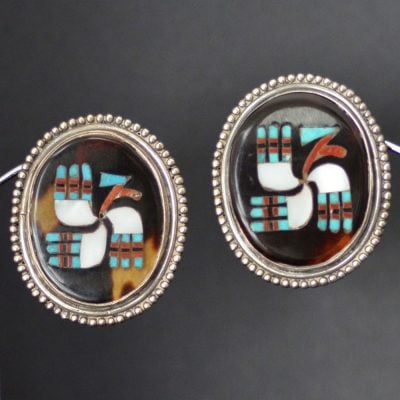 "Zuni Inlaid ""Stylized Bird"" Earrings"