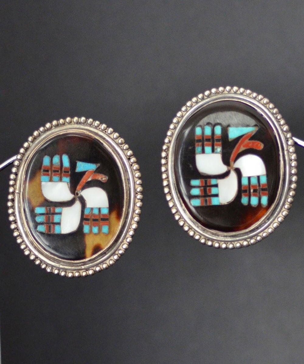"Zuni Inlaid ""Stylized Bird"" Earrings"
