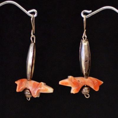 Vintage carved bear fetish earrings