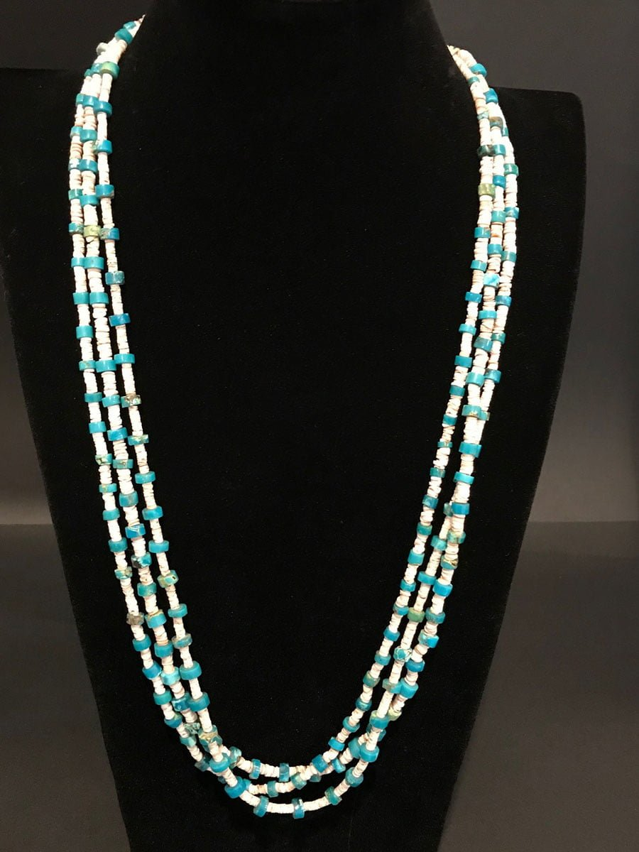Blue Gem Turquoise Heishi Necklace