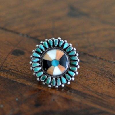 Vintage Zuni Mosaic Inlaid Ring