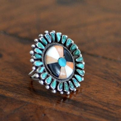 Vintage Zuni Mosaic Inlaid Ring