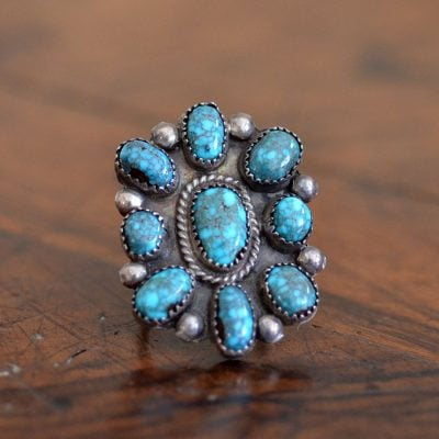 Lone Mountain Turquoise Cluster Ring