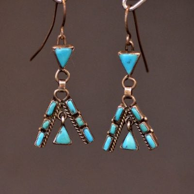 Blue Gem Turquoise Teepee Earrings