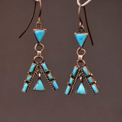 Blue Gem Turquoise Teepee Earrings