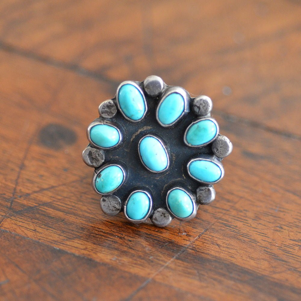 Pale Blue Turquoise Cluster Ring