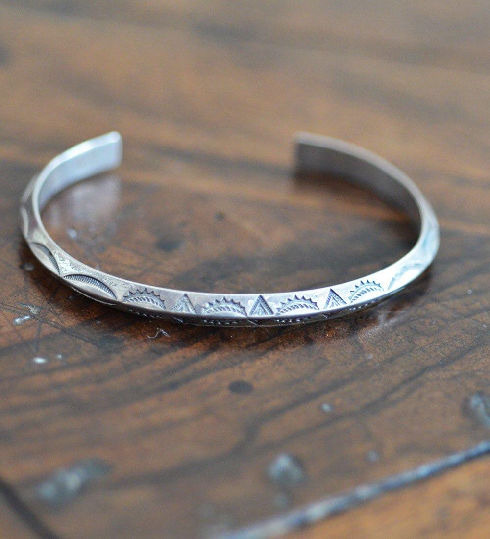 Thin Silver Navajo Bracelet