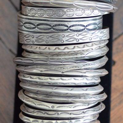 Stacked Navajo Silver Bracelets
