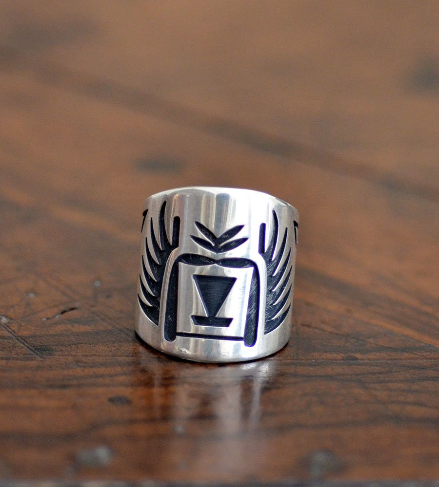 Hopi- Silver Overlay Crow Mother Katsina Ring