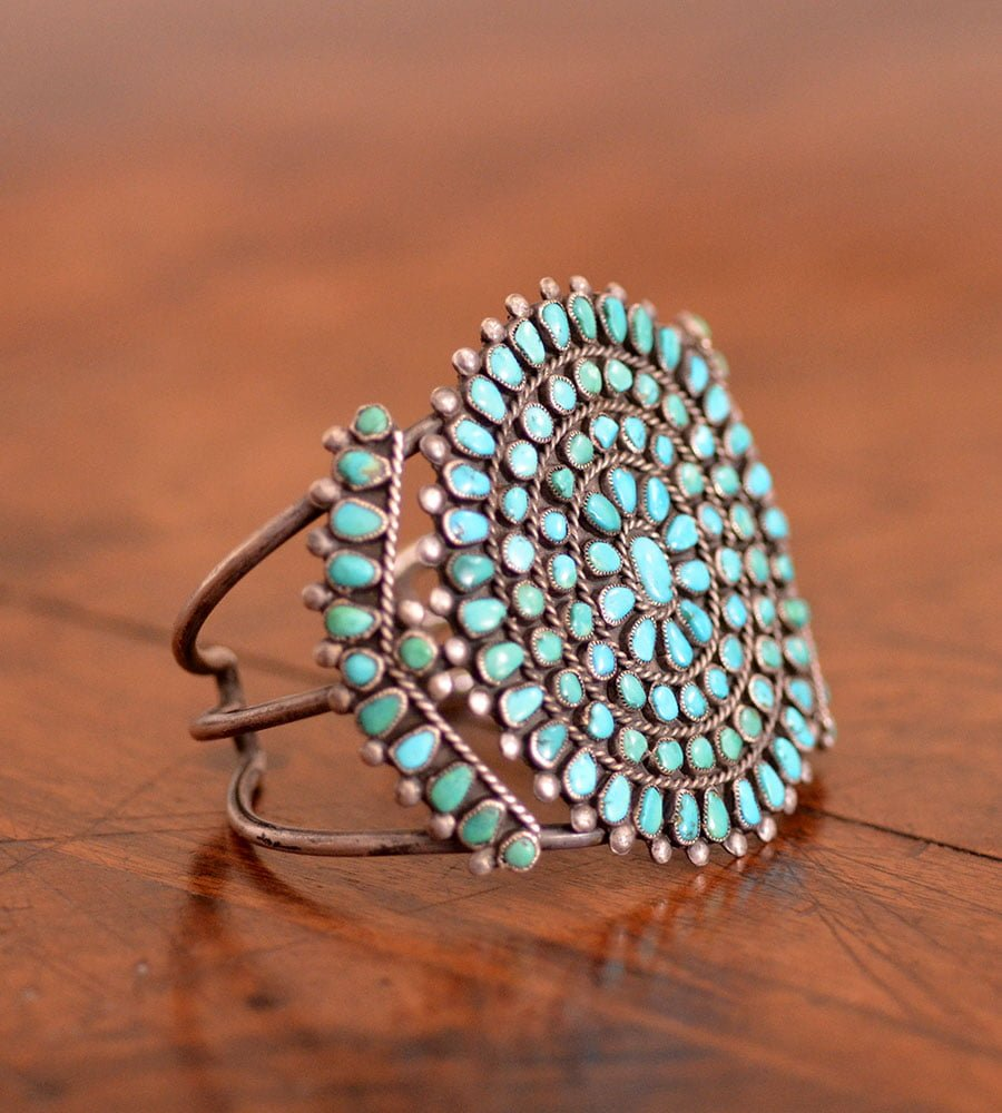 Gorgeous Navajo Turquoise Cluster Bracelet