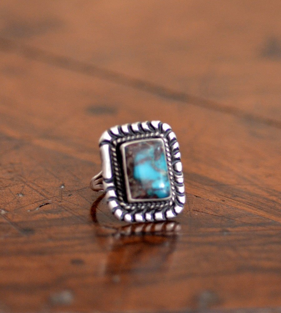 A Great Square Bisbee Turquoise Ring