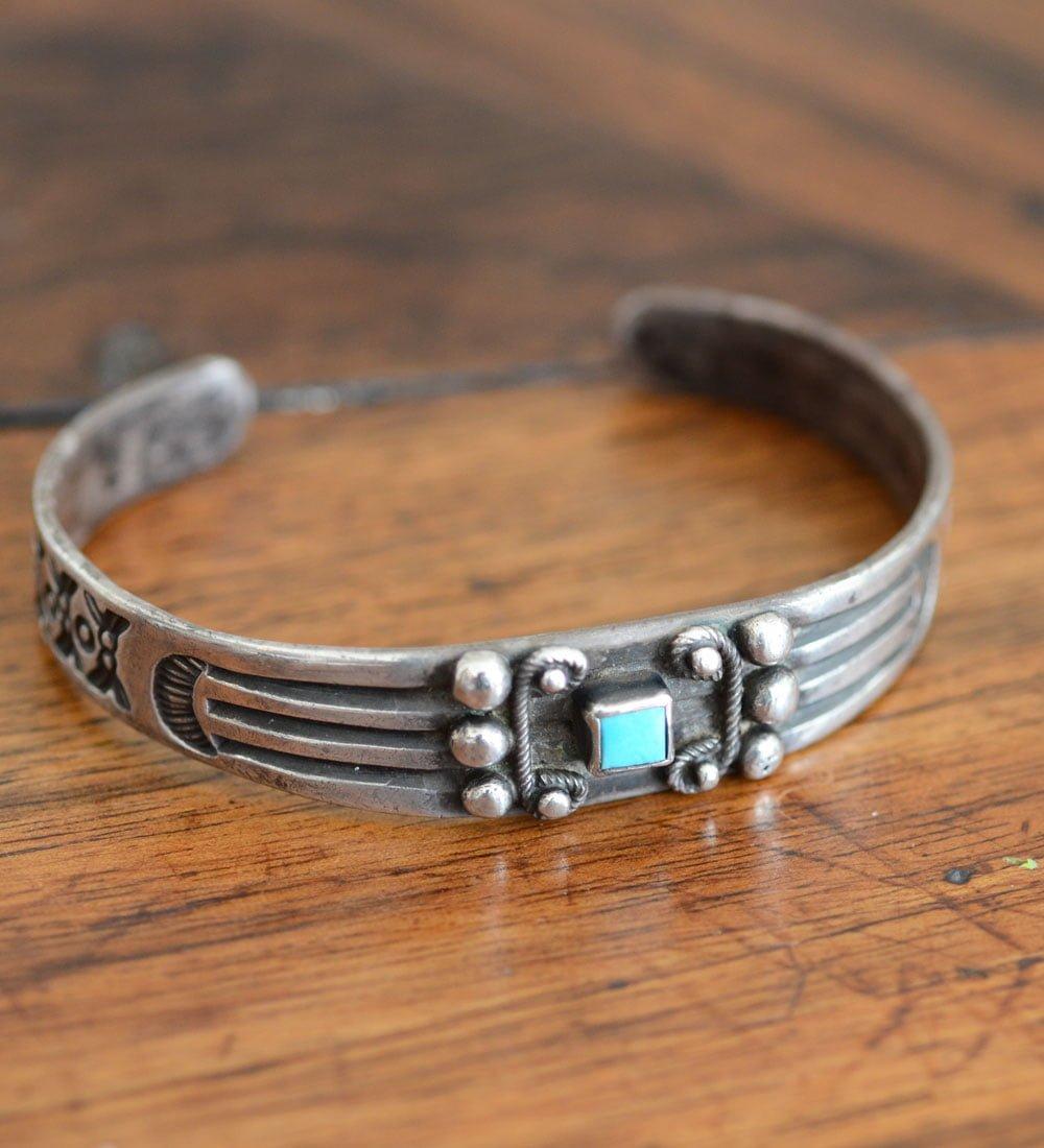 Navajo Stamped Silver Bracelet