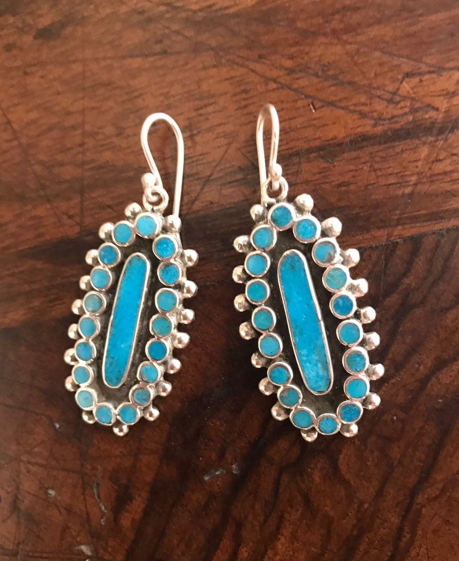 Contemporary Turquoise Inlaid Earrings