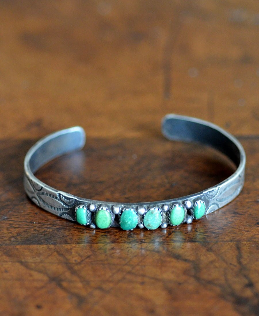 Navajo Stamped Cuff with Turquoise