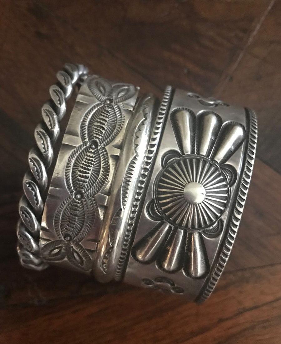 Navajo Silver Bracelets stacked