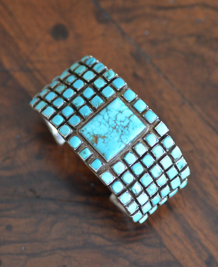 Turquoise Bracelet With Square Cut Stones
