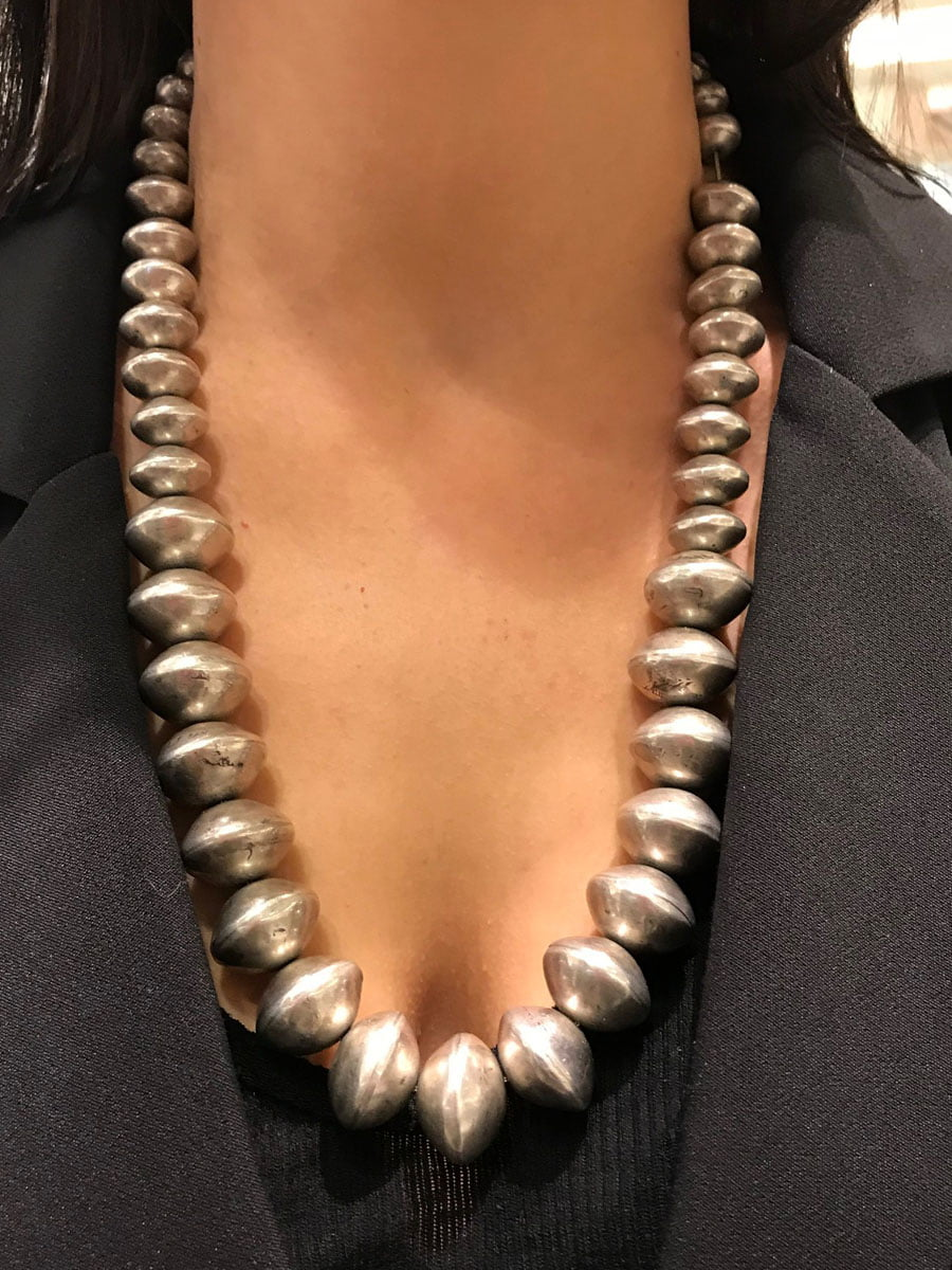 Navajo Coin Silver Strand Of Beads