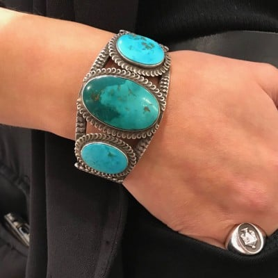Turquoise Navajo Cuff With 3 Stones