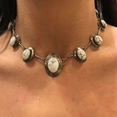 Silver & White Stoned Chocker Necklace