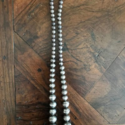 Navajo Graduated Silver Bead Necklace