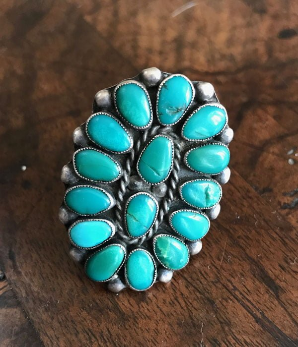 Old Zuni Green Cluster Ring